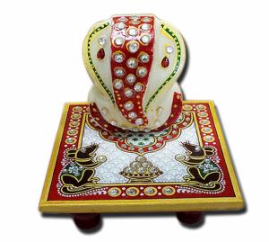 Marble Chowki 4x4 inch with Ganesha