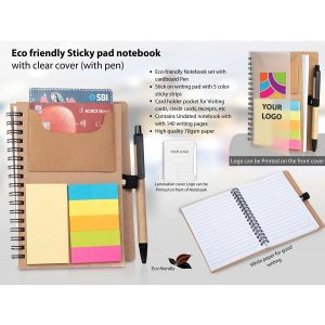 Eco Friendly Sticky Pad Notebook With Clear Cover (With Pen)