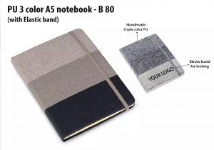 B80 – PU 3 color A5 notebook with elastic fastener