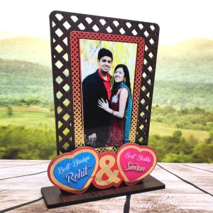 Sublimation Wooden pf with Special Effect Double Heart WITH NAME