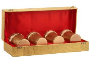 Pack of 4 Meena Print Gold Carving glass gift set DC